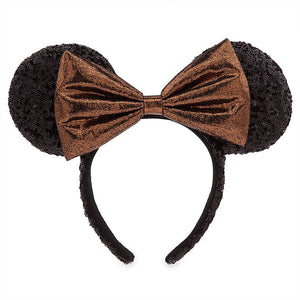 Disney Parks Minnie Sequined Ear Headband with Belle Bronze Bow New with Tags