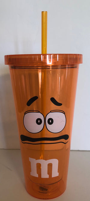 M&M's World Orange Character Big Face Tumbler with Straw New