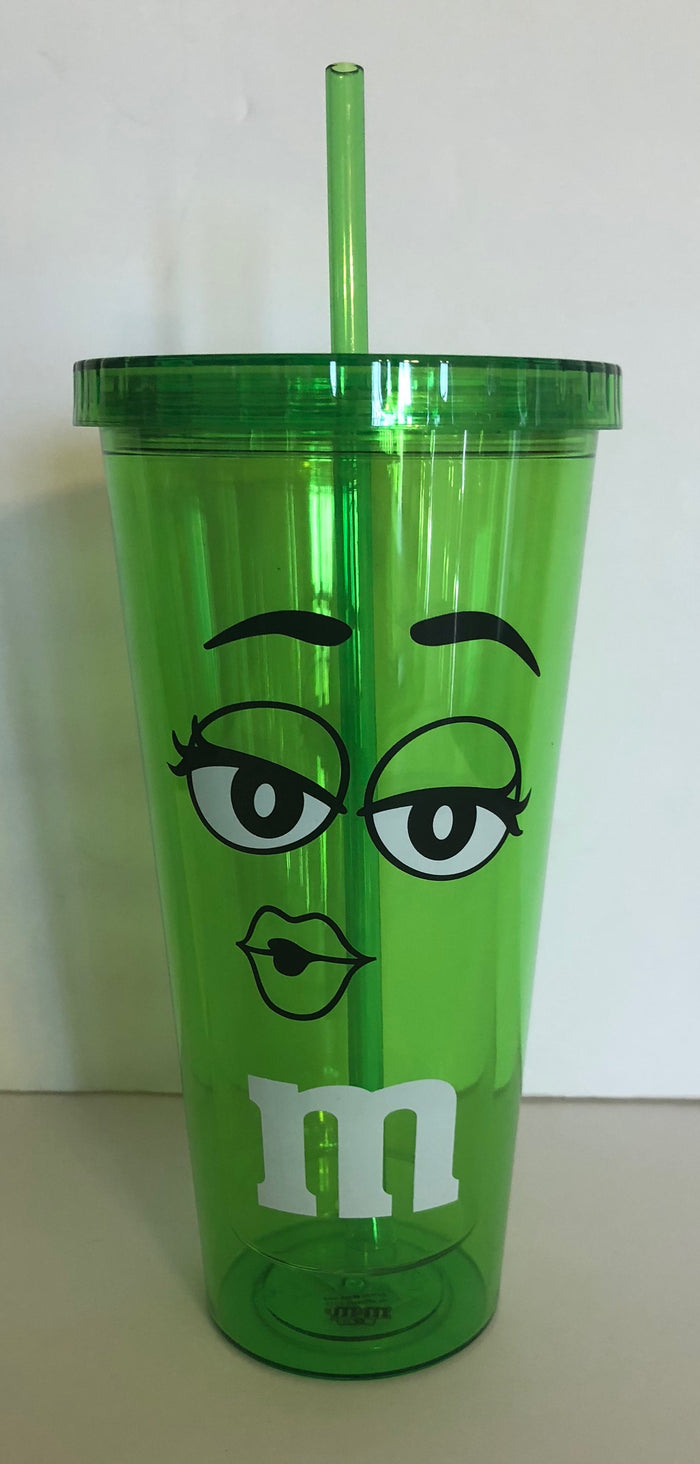 M&M's World Green Character Big Face Tumbler with Straw New