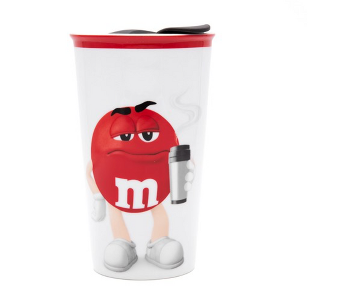 M&M's World Red Character Ceramic Tumbler New