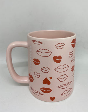 Starbucks Valentine 2021 Pink Lips Ceramic Coffee Mug New