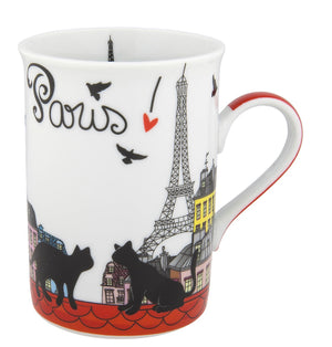 Disney Parks Epcot Paris Cats Porcelain Coffee Mug New