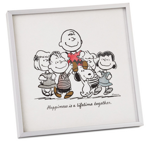 Hallmark Peanuts Happiness Together Framed Art Quote Sign New