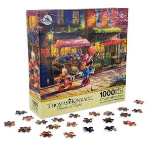 Disney Mickey Mouse And Minnie Sweetheart Cafe Puzzle Thomas Kinkade 1000 Pcs