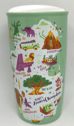 Disney Parks Starbucks Animal Kingdom Attractions Map Coffee Tumbler Mug New