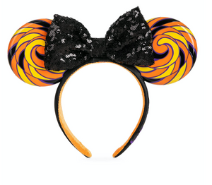 Disney Parks Halloween Candy Minnie Mouse Ear Headband with Sequined Bow New