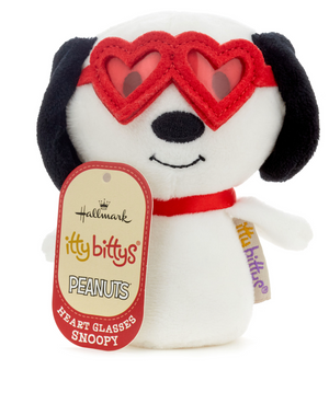 Hallmark Valentine itty bittys Peanuts Snoopy With Heart Glasses Plush New Tag