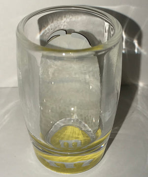 M&M's World Yellow Big Face Clear Shot Glass New