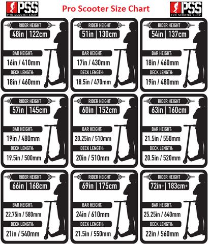 pro scooter size chart