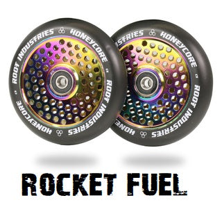 honeycore pro scooter wheels root industries 110mm rocket fuel on black