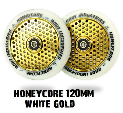 root industries honeycore scooter wheels 120mm white gold