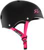 scooter helmets s1 sone matte black pink straps adult medium