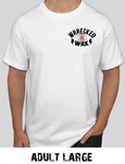 wrrecked wax white tees shirts ww logo - adult large
