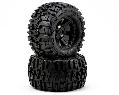 "Pro-Line PRO1170-13 TRENCHER 2.8"" Tires Black Desperado Wheels 12mm Rustler Rear"