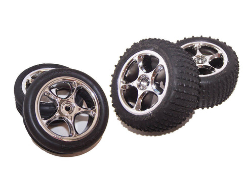 Traxxas 24054-1 BANDIT 2wd XL-5 Buggy Chrome Wheels Tires Rims Complete Set