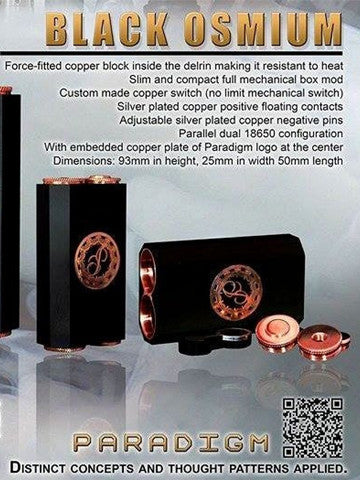 Authentic Black Osmium Fully Mechanical Box Mod by Paradigm Modz Copper Edition
