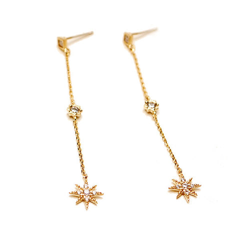 [WS] CZ Diamond Star Dangle Earrings