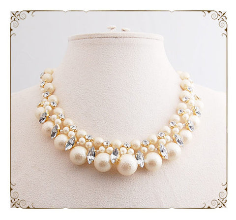 [NCP] Cotton Pearl & Crystal Victorian Necklace