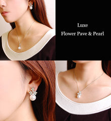 CZ Paved Flower & Pearl Luxe Jewelry SET