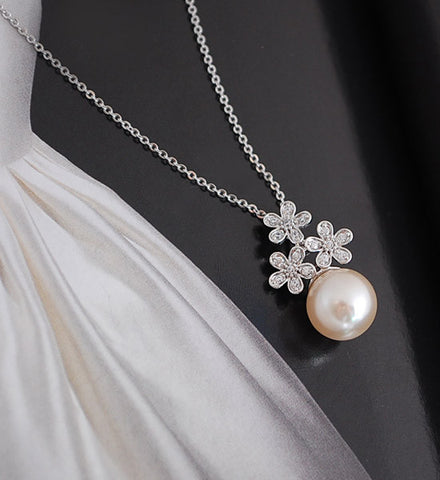 [NS] CZ Paved Flower & Pearl Luxe Necklace