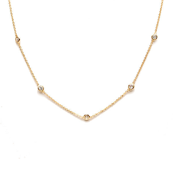 [WS] Bezel Solitaire CZ Diamond 9 Points Dainty Chain Necklace