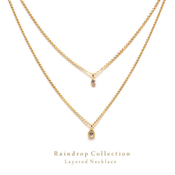 [WS] CZ Diamond & Teardrop Layered Necklace