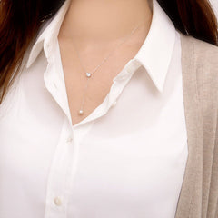[NS] CZ Crystal & Drop Pearl Y Necklace