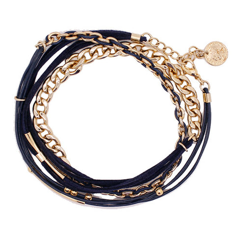 [SALE] Leather & Gold woven chain wrap Bracelet / Necklace ~ 2way style