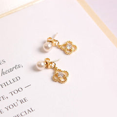 Pearl Post & Four Clover 2Way Earrings