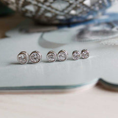 [WS] CZ Diamond Bezel Earrings