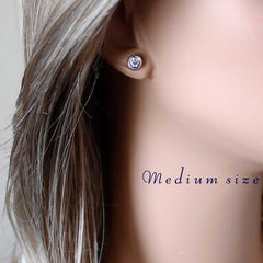 CZ Diamond Bezel Earrings -new