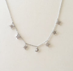 CZ Diamond Mixed Star 7 Charm Necklace - new