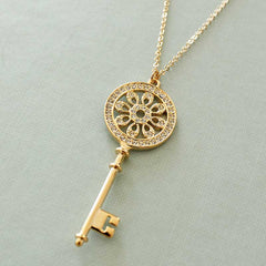 CZ Diamond Paved Round Key Charm Long Necklace -new