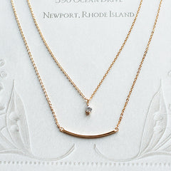 [NS] CZ Diamond & Curved bar Charm Layered Necklace
