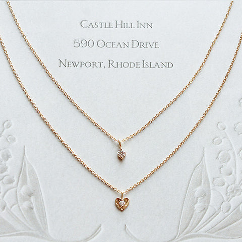 [NS] Petit CZ in Heart Charm Dainty Chain Layered Necklace