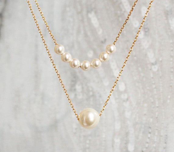 [NS] Tiny 7 Swarovski Pearls & One point Layered Dainty Necklace