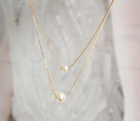 [NS] Swarovski Pearl Layered Gold Chain Dainty Necklace