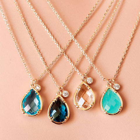 [NS] Teardrop Crystal with CZ diamond charm Gold dainty Necklace <Large> - new