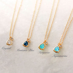 [NS] Teardrop Crystal with CZ diamond charm Gold dainty Necklace <Small> -new