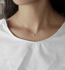 [NS] Tiny CZ Diamond Bezel Necklace - new