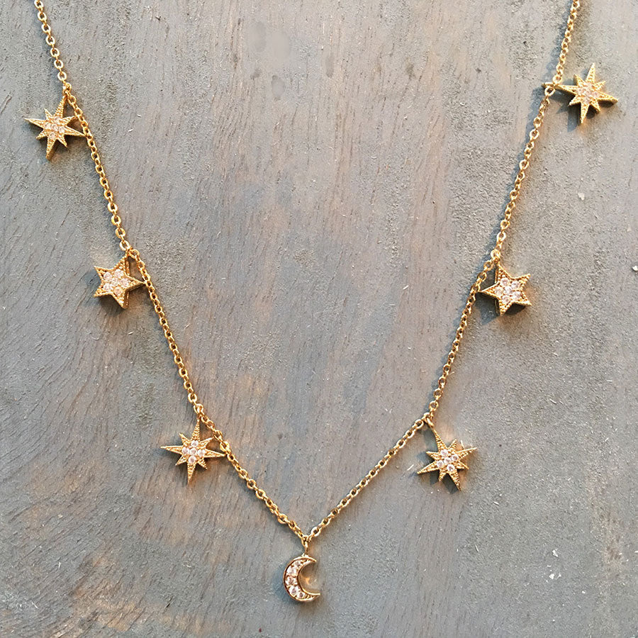 [WS] CZ Pave Mixed Star 7 Charms Necklace