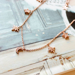 CZ Diamond Mixed Star 7 Charm Necklace < Rose Gold >- new