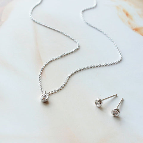Tiny CZ Diamond Bezel Necklace & Earrings SET - new