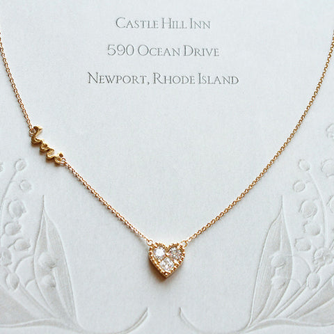 [NS] CZ Diamond in Heart Charm & Love Necklace - new