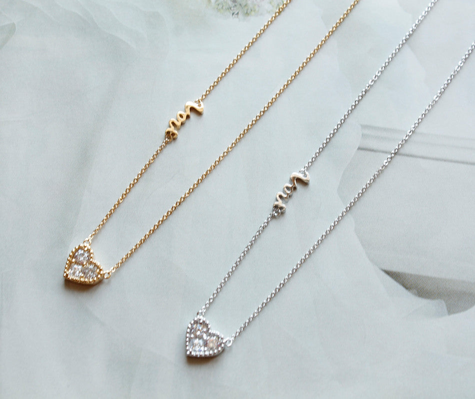 Ns Cz Diamond In Heart Charm Love Necklace New Charis Jewel