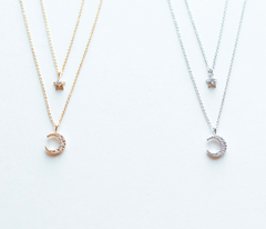 [WS] CZ Diamond Moon & Star Layered Necklace