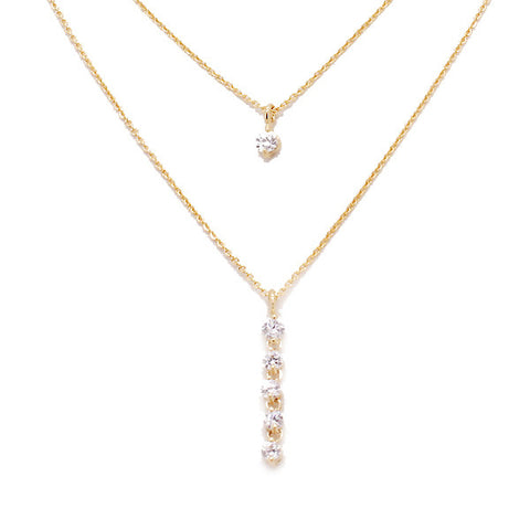 [NS] CZ Diamond Vertical Line Bar Charm Layered Necklace - new