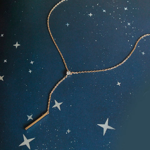 CZ Diamond & Vertical Drop Bar Y Dainty Necklace - new
