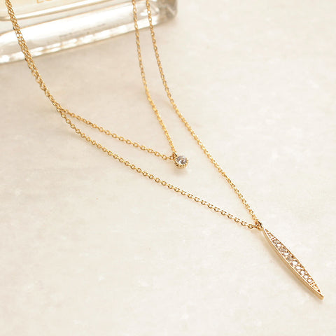CZ Diamond Vertical Bar Charm Layered Necklace - new