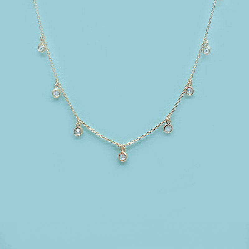 Tiny CZ Diamonds Drop Bezel Necklace - new